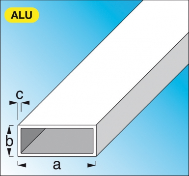 tube rectangulaire en aluminium brut dim 50x20 mm p 1 5 mm lg 2 m. Black Bedroom Furniture Sets. Home Design Ideas