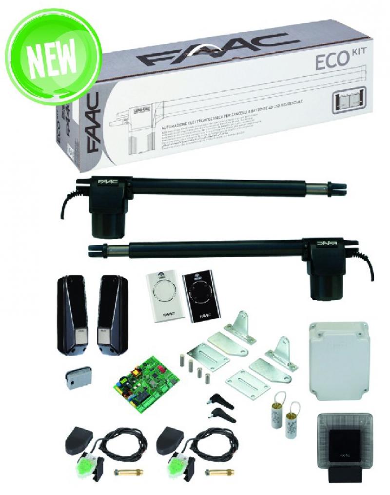 Kit d 39 automatisme pour portail battant eco kit long for Faac eco kit