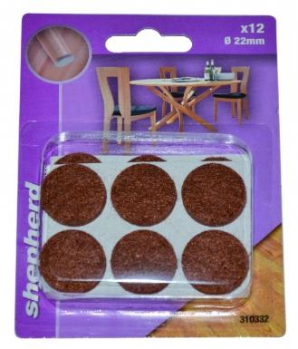 patins feutre adh sif rond marron 22 mm blister 12 p. Black Bedroom Furniture Sets. Home Design Ideas