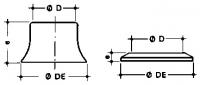 rosace pour pipe de W.C. - Ø D 100 - Ø DE 140 - E 83...