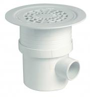 siphon revêt. sol plast. PVC blanc grille PVC - sortie vert...