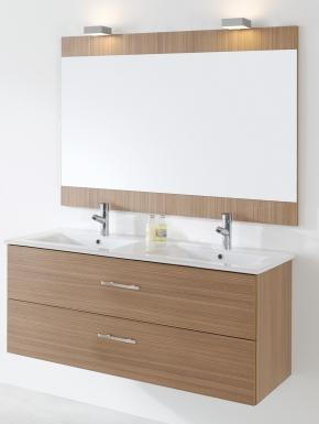 Meuble colton 120 cm h 51 8 cm p 46 cm 2 tiroirs blanc for Meuble salle de bain marque