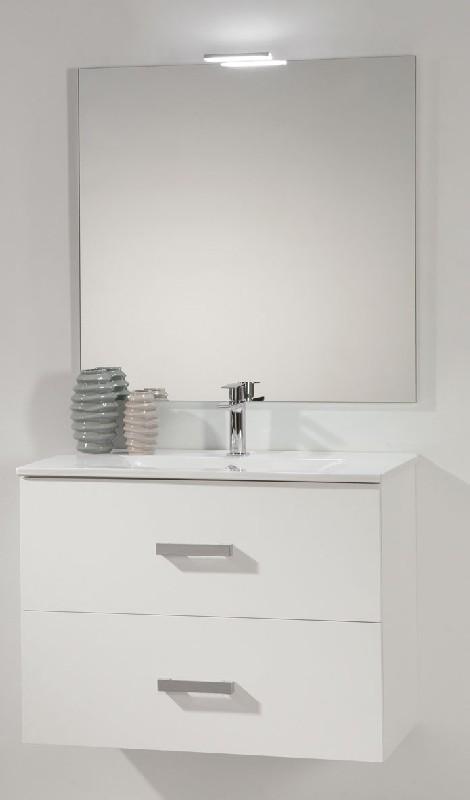 Meuble tim 60 cm h 61 8 cm p 46 cm 2 tiroirs blanc for Recherche meuble de salle de bain