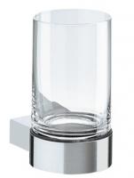 porte-verre mural avec verre en cristal - Plan - chromé...