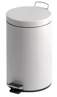 poubelle à pédale - 3 litres - acier époxy blanc...