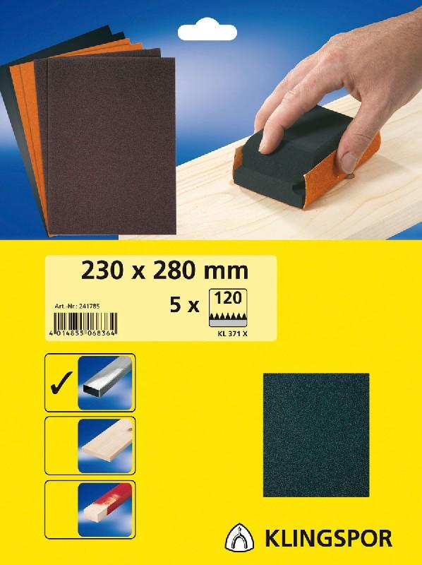 5 feuilles toile meri dimensions 230x280 grain 80. Black Bedroom Furniture Sets. Home Design Ideas