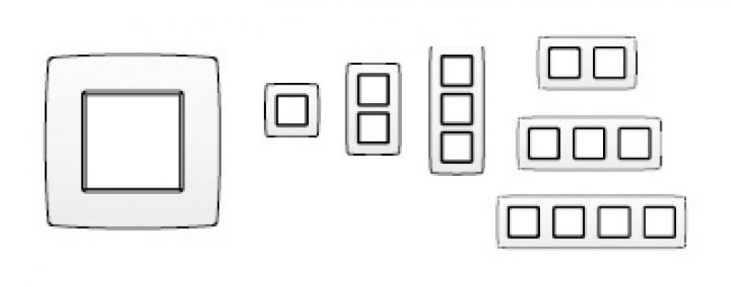 cadre 2 postes 83x154 mm entraxe 71 mm horizontal col blanc. Black Bedroom Furniture Sets. Home Design Ideas