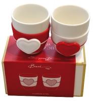 lot de 2 tasses à café en porcelaine Coeurs - contour sili...