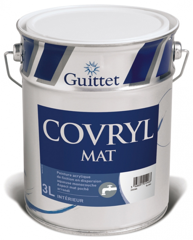 covryl peinture acrylique mat int rieur monocouche col blanc 3 l. Black Bedroom Furniture Sets. Home Design Ideas