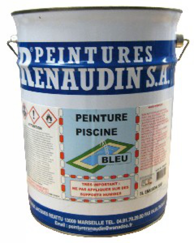 Renodyne 60 peinture pour piscine base de caoutchouc chlor col bleu 5 l for Peinture pour piscine