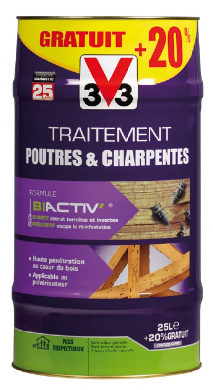 traitement poutres charpentes micro mulsion insecticide et fongicide 25 l. Black Bedroom Furniture Sets. Home Design Ideas