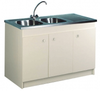 meuble sous-évier 3 portes - largeur : 1400 mm