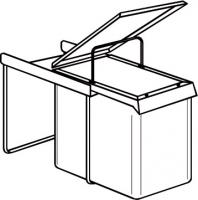 poubelle 2 bacs grise à coulisse 20 litres h. 40 cm Ø 27 c...