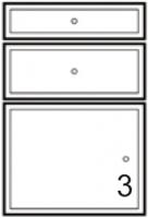 façade 3T MIRAGE blanc brillant h. 11,8 + 18,5 + 37,3 cm la...